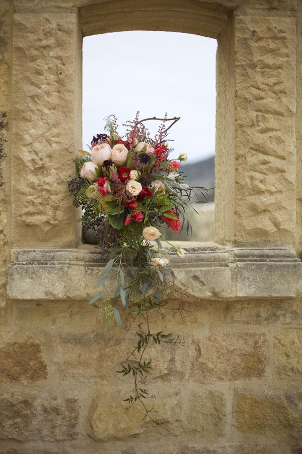 Florabundance Inspirational Design Days - Bridal bouquet of Astilbe, Pieris Japonica, Pink Mink Protea, Juliet Garden Roses, Sweet Peas, Agonis and Chocolate Lace, Privet Berries, Jasmine Vine