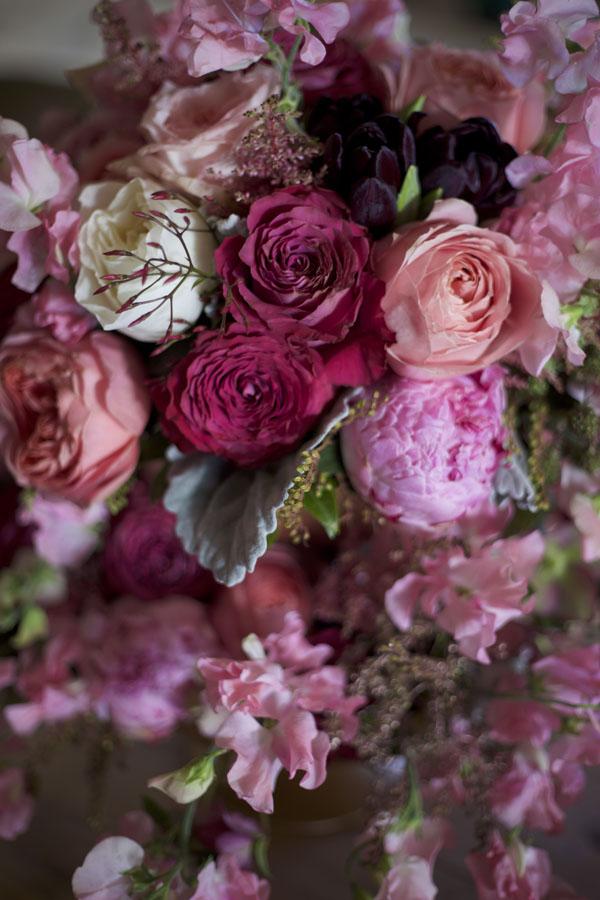 Florabundance Wholesale Flowers, Hot Pink Garden Roses, Plum Tulips, Romantic Antik Garden Roses, Pink Peonies, Dusty Miller, Pink Sweet Peas