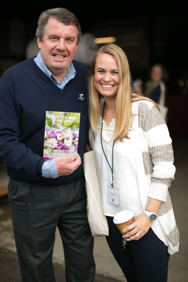 Florabundance Design Days 2015 - Joost with Amy Cason of Victorian Gardens. The beautiful floral design featured on Florabundance Postcards was designed by Amy!