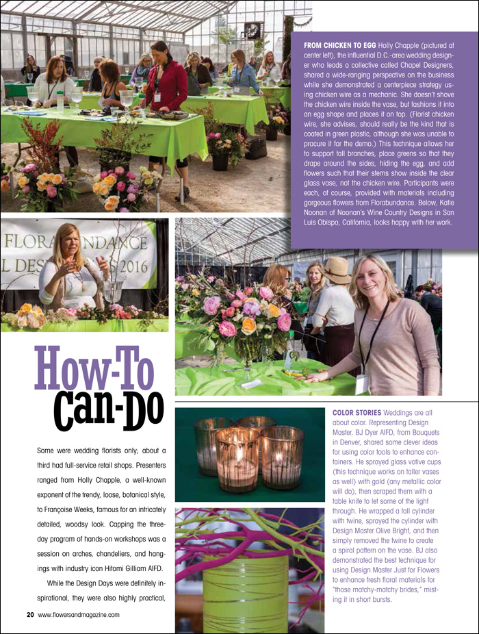 Florabundance Design Days and Flowers& Magazine, Holly Chapple of the Chapel Designers, Francoise Weeks, and Hitomi Gilliam AIFD