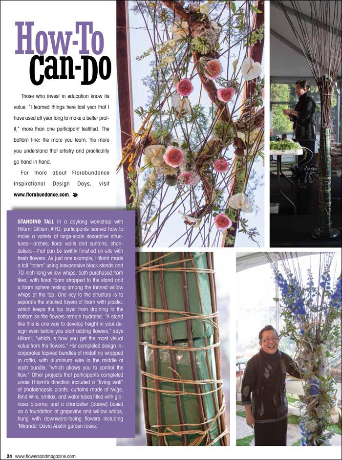 Florabundance Design Days featured in Flowers& -  Hitomi Gilliam AIFD