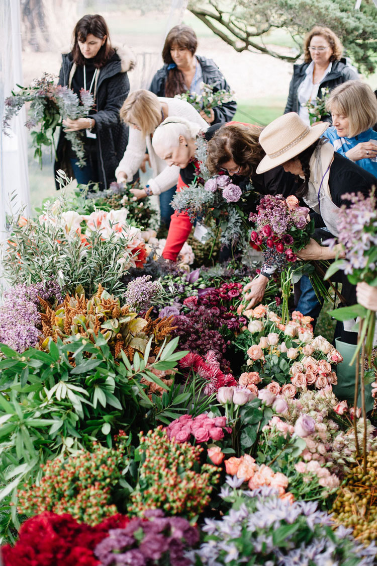 Florabundance Inspirational Design Days - attendees select from a plethora of flowers to create their bouquets