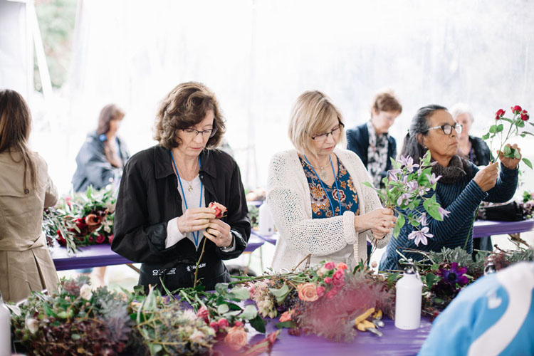 Florabundance Inspirational Design Days -  ladies designing bouquets