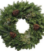 Wreath, Mixed With Pinecones, 24″ X6