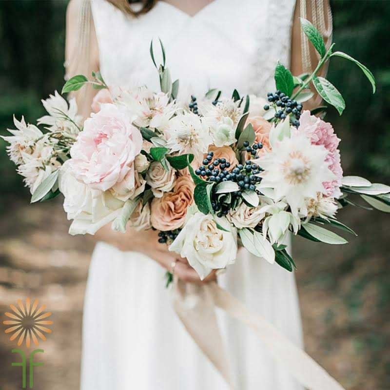 Bridal Bouquet With Peach, Cream And Pink Flowers